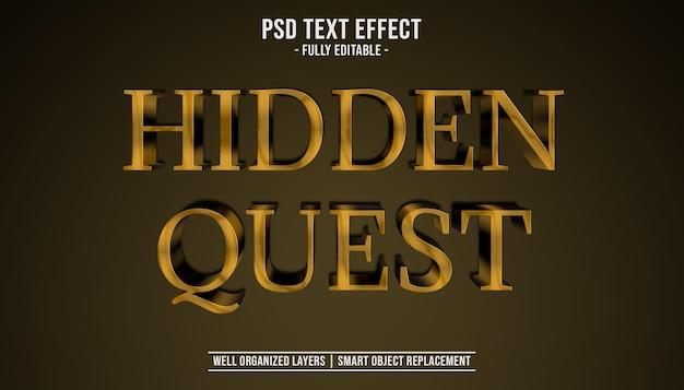 Modèle d'effet de texte 3d quête cachée