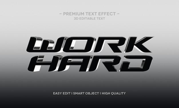 Modèle d'effet de texte 3d work hard