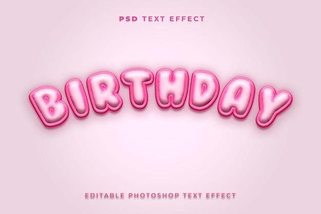Modèle d'effet de texte d'anniversaire 3d avec la couleur rose