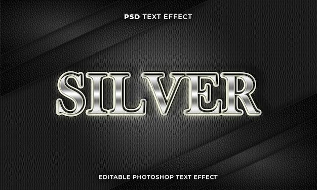 Modèle d'effet de texte en argent 3d