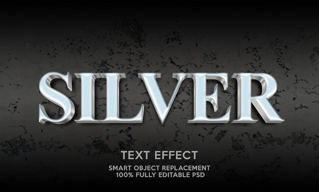 Modèle d'effet de texte argenté