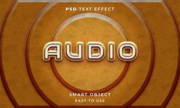 Modèle d'effet de texte audio 3d avec la couleur jaune
