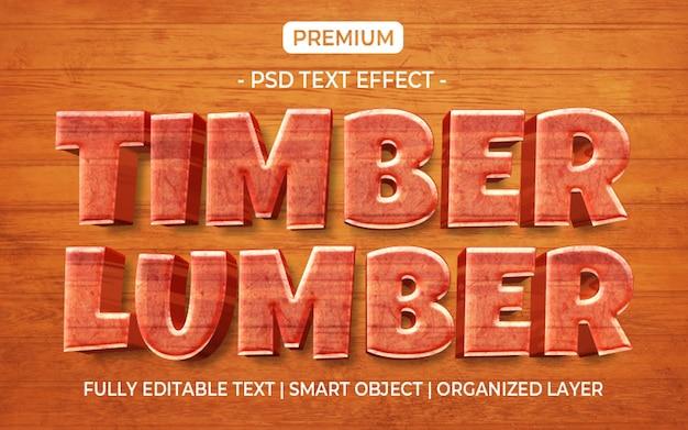 Modèle d'effet de texte de bois de construction