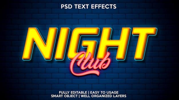 Modèle d'effet de texte de boîte de nuit