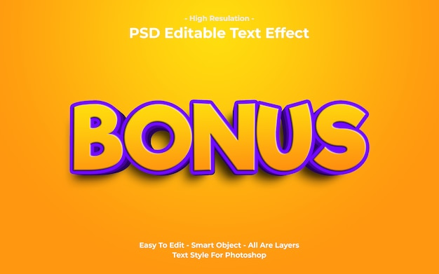Modèle d'effet de texte bonus