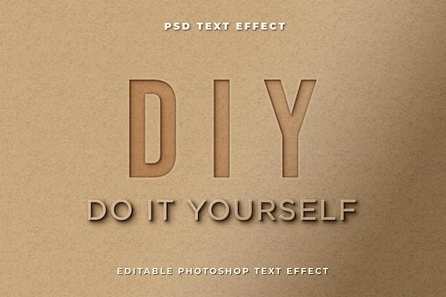 Modèle d'effet de texte bricolage avec style papier