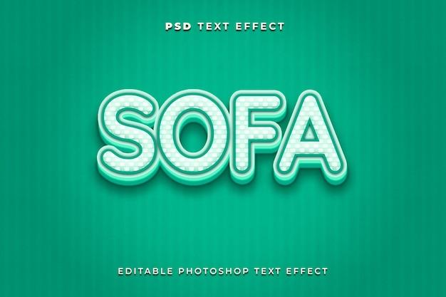 Modèle d'effet de texte de canapé avec fond vert