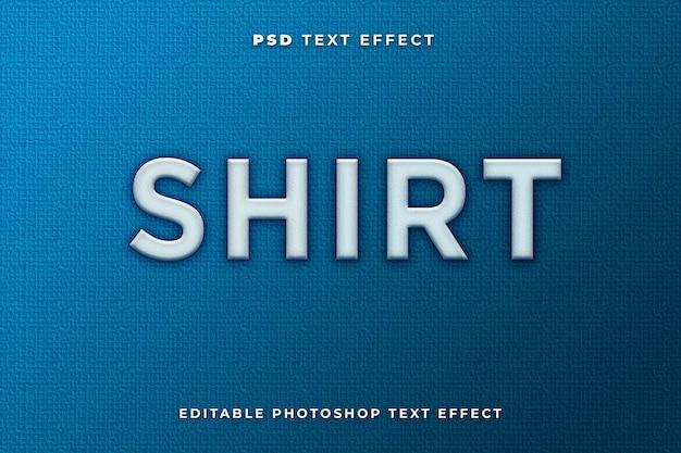 Modèle d'effet de texte de chemise avec fond bleu