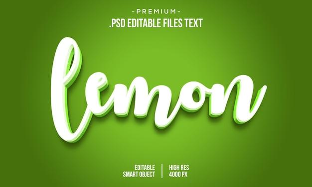 Modèle d'effet de texte de citron 3d coloré moderne