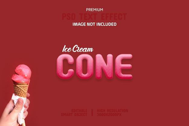 Modèle d'effet de texte de cône de crème glacée modifiable