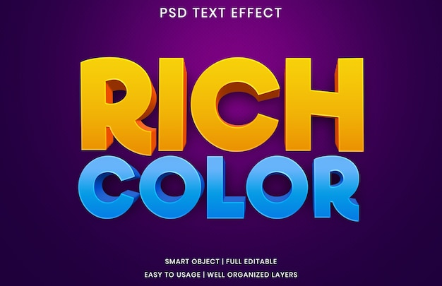 Modèle d'effet de texte de couleur riche