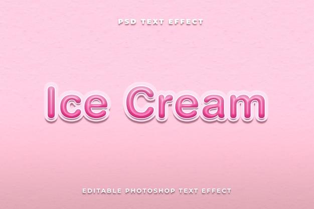 Modèle d'effet de texte de crème glacée