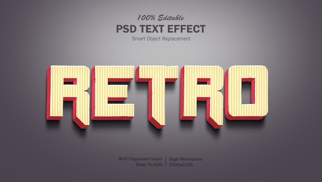 Modèle d'effet de texte dégradé rétro 3d