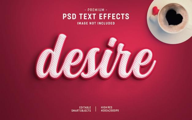 Modèle d'effet de texte désir valentine
