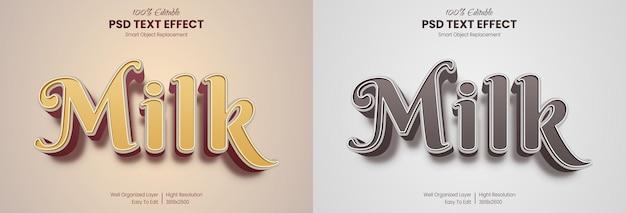 Modèle d'effet de texte de dessin animé de lait