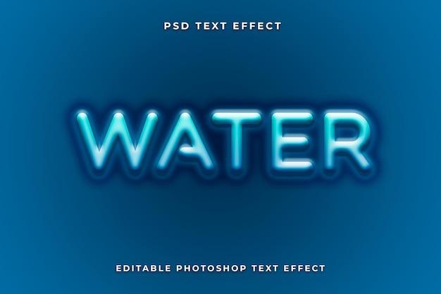 Modèle d'effet de texte d'eau avec la couleur bleue