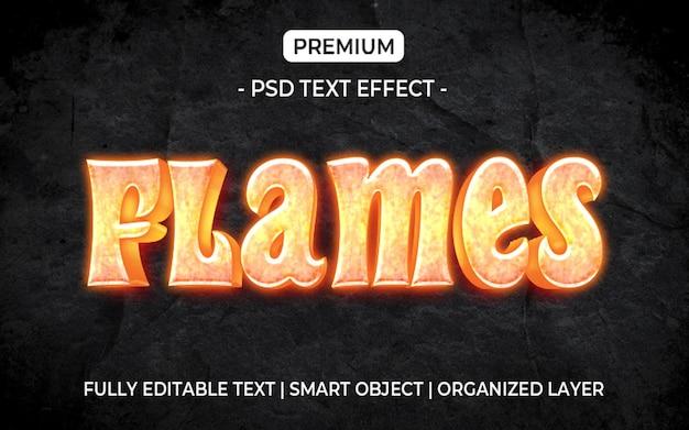 Modèle d'effet de texte de flammes de feu