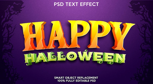 Modèle d'effet de texte happy halloween