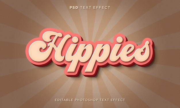 Modèle d'effet de texte hippies 3d