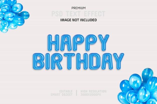 Modèle d'effet de texte joyeux anniversaire modifiable