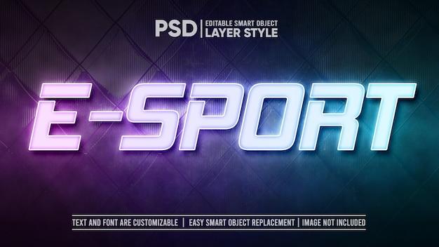 Modèle d'effet de texte de lampe led e-sport