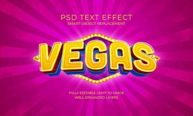 Modèle d'effet de texte lumineux ampoule vegas