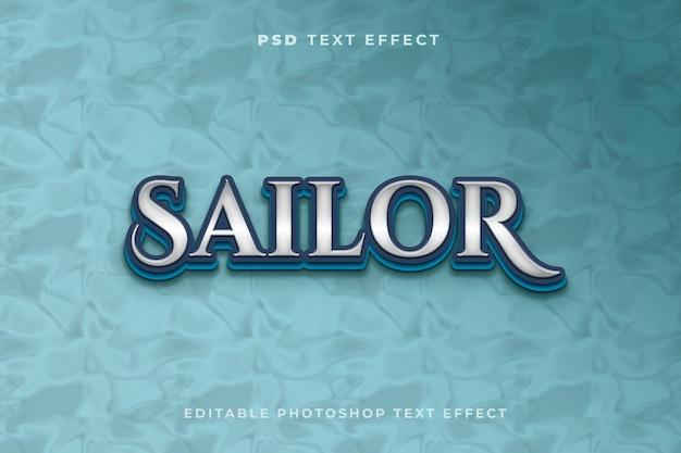 Modèle d'effet de texte marin avec fond bleu