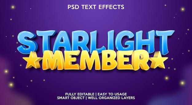 Modèle d'effet de texte de membre starlight