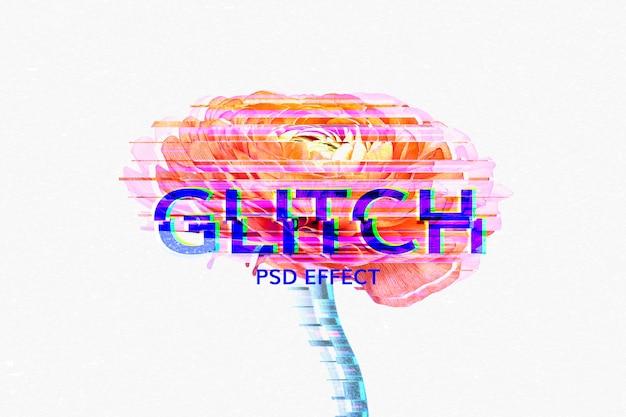 Modèle d'effet de texte modifiable glitch déformé psd