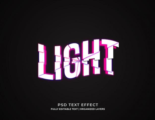 Modèle d'effet de texte modifiable de style 3d de lumière cassée