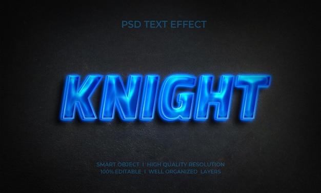 Modèle d'effet de texte néon chevalier
