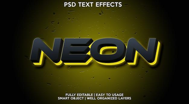 Modèle d'effet de texte néon