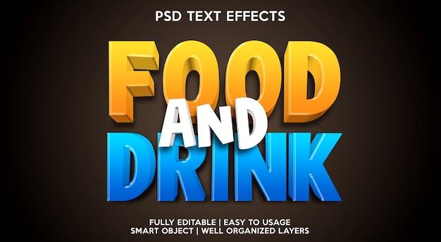 Modèle d'effet de texte de nourriture et de boisson