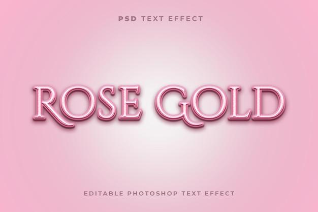 Modèle d'effet de texte en or rose avec la couleur rose