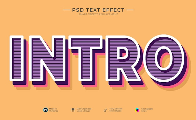 Modèle d'effet de texte orange violet rose d'introduction