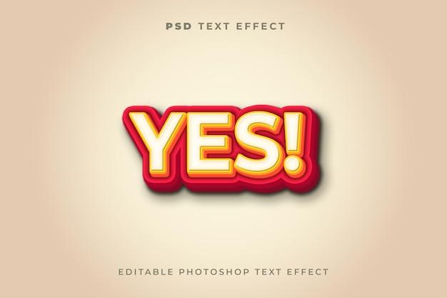 Modèle d'effet de texte oui 3d avec la couleur rouge
