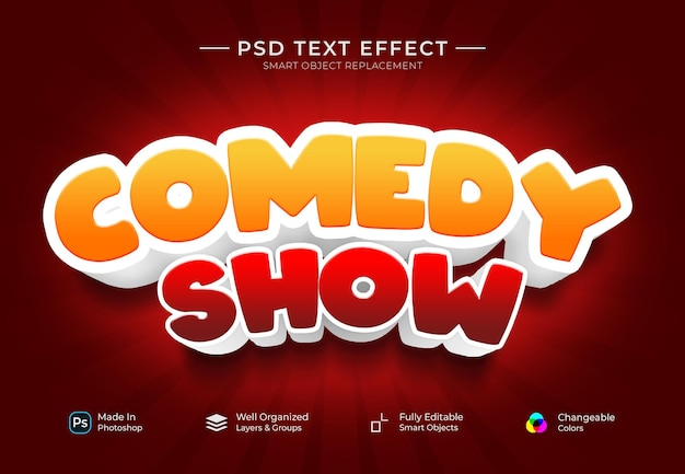 Modèle d'effet de texte personnalisé comedy show