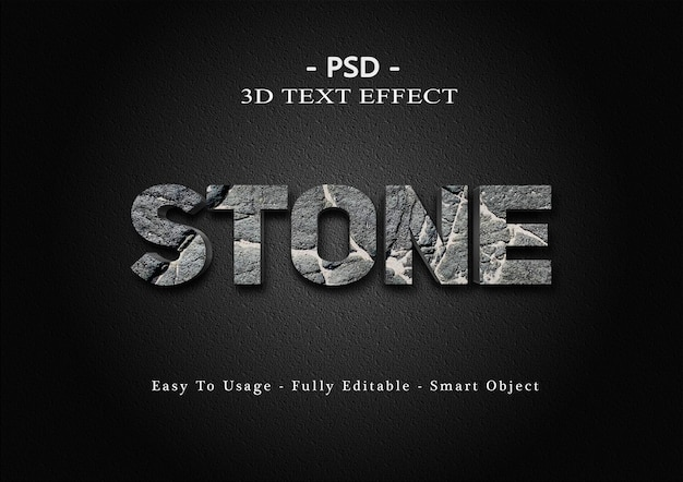 Modèle d'effet de texte en pierre 3d