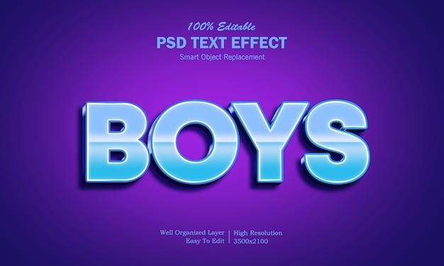 Modèle d'effet de texte pour garçons 3d
