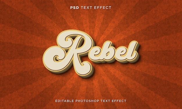 Modèle d'effet de texte rebelle 3d