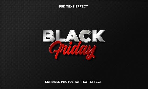 Modèle d'effet de texte vendredi noir 3d