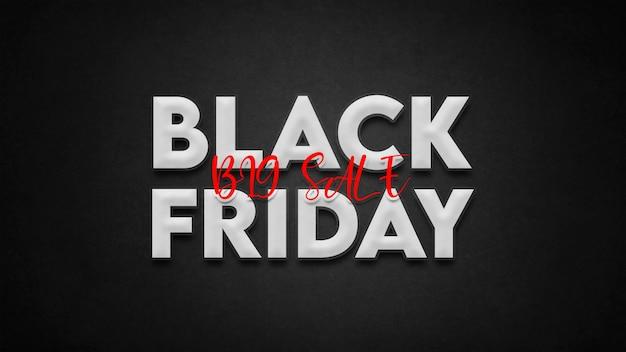 Modèle d'effet de texte de vente vendredi noir