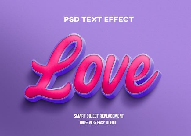 Modèle d'effet de texte violet rose rouge réaliste