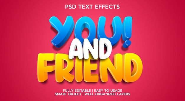Modèle d'effet de texte vous et ami