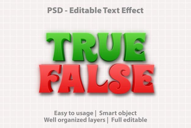 Modèle d'effet de texte vrai faux