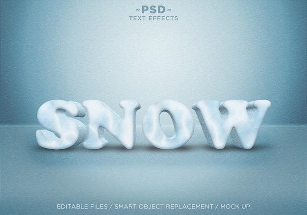 Modèle d'effets de style de neige réaliste 3d texte