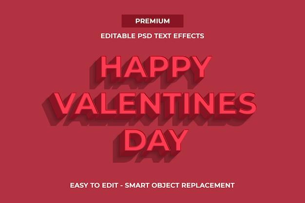 Modèle d'effets de texte happy valentines day