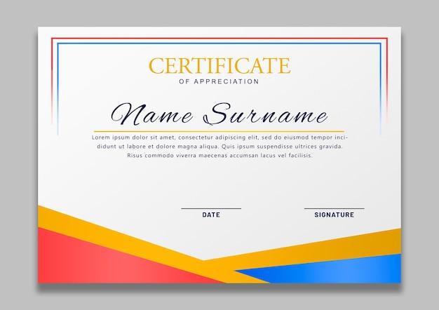 Modèle élégant de certificat d'appréciation