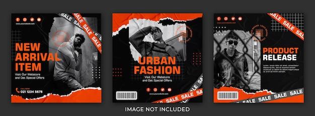 Modèle d'ensemble de post streetwear sur les réseaux sociaux