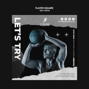 Modèle d'entraînement de basket-ball flyer carré
